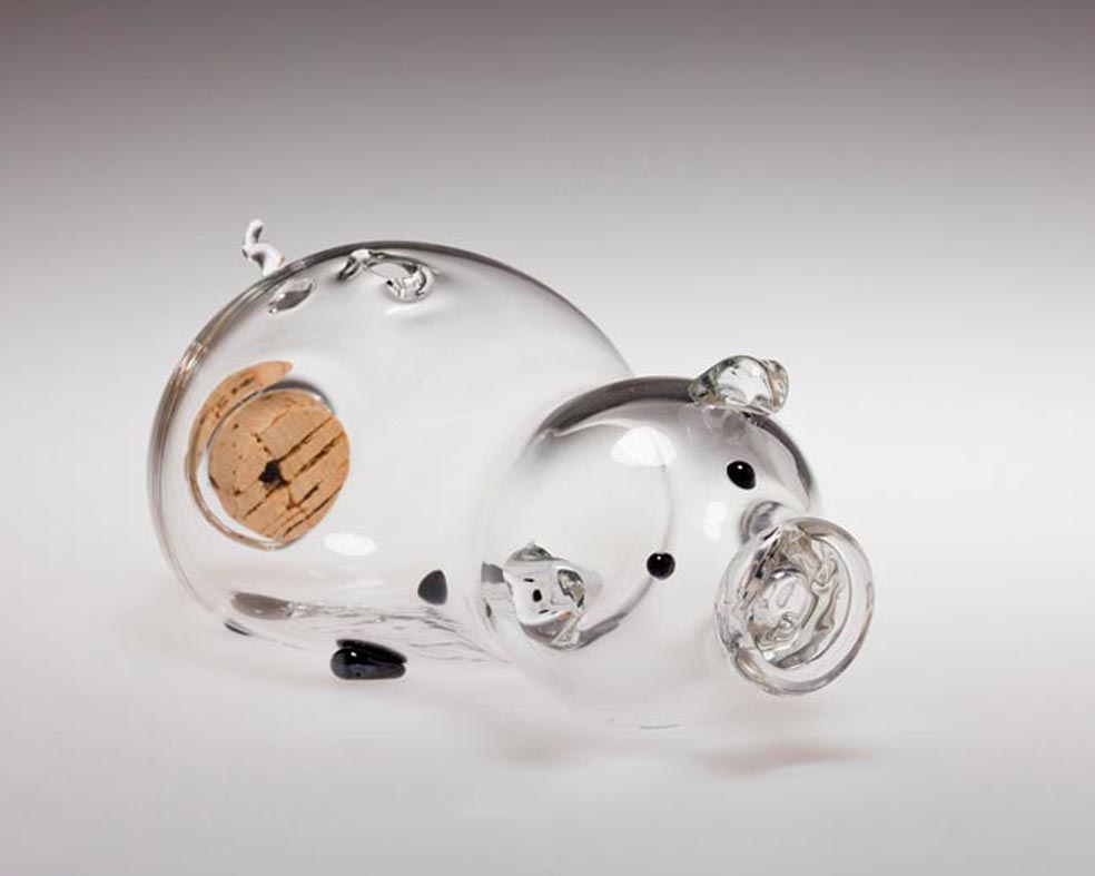 Corky Porky Bank, Clear, Glass Art Made By Hollywood Hot Glass
