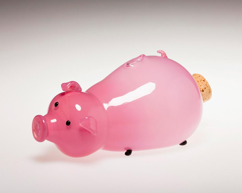 Corky Porky Bank Pink, Glass Art Made By Hollywood Hot Glass