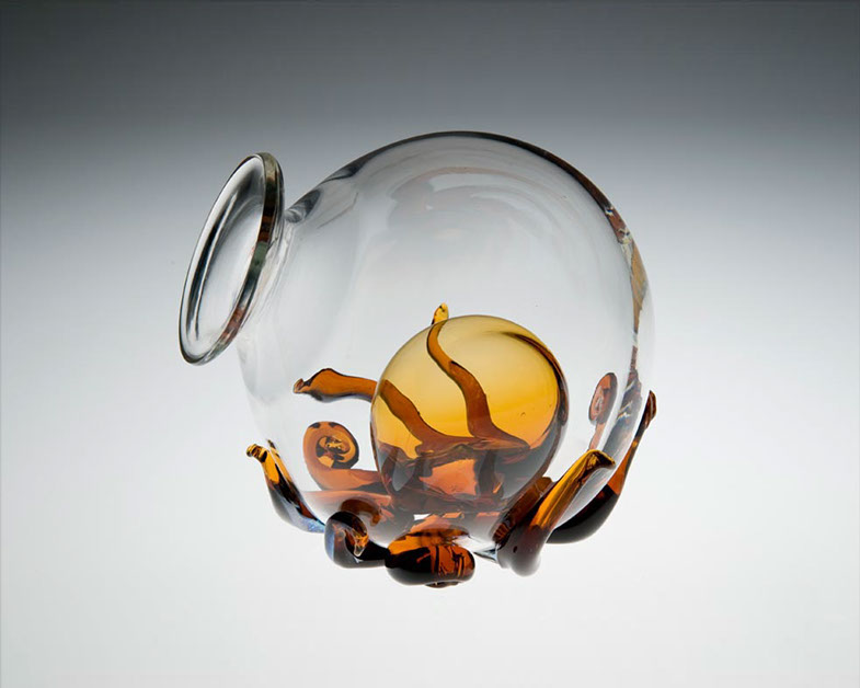 Octopus Wine Decanter, Glass Art Made By Hollywood Hot Glass