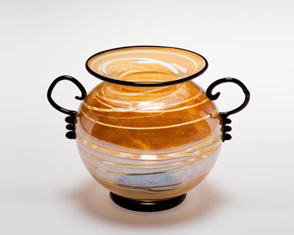 Round Low Vase, Glass Art Made By Hollywood Hot Glass