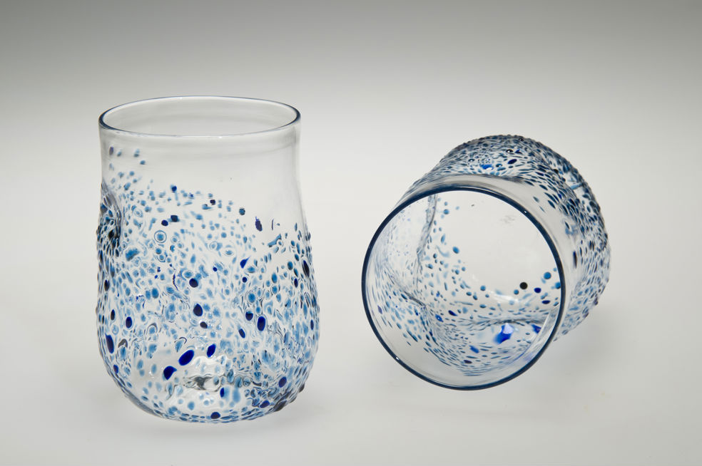 Textured Tumblers, Blue, Glass Art Made By Hollywood Hot Glass