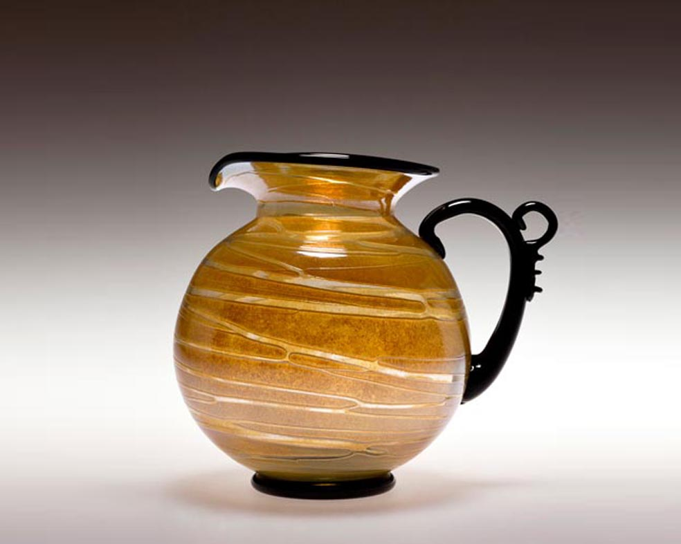 Thumb Rest Pitcher, Glass Art Made By Hollywood Hot Glass