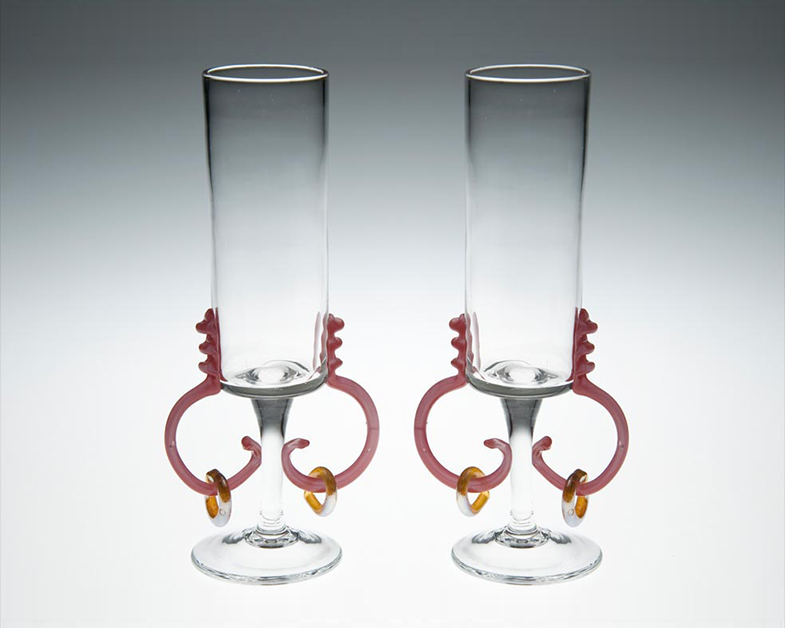 Valentine's Day Champagne Flutes, Glass Art Made By Hollywood Hot Glass