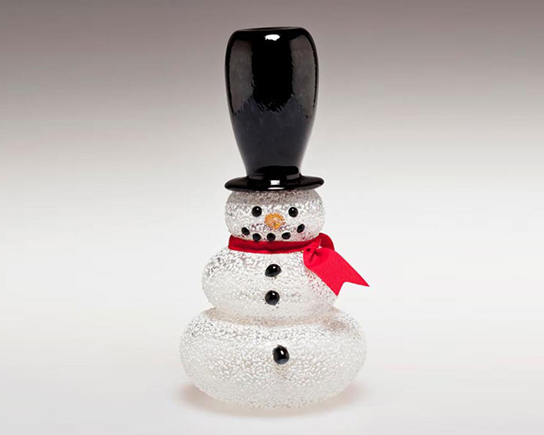 Over-The-Top Hat Snowman, Glass Art Made By Hollywood Hot Glass